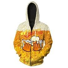 3d impreso azul cerveza קוספליי disfraz 3D sudaderas hombres mujeres harajuku קון capucha cremallera sudadera chaqueta XXS-5XL(China)