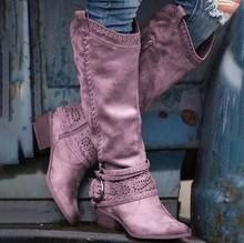 Kadın sivri burun toka kayış topuklu kış uzun çizmeler daireler çıplak siyah süet ajur diz yüksek çizmeler(China)
