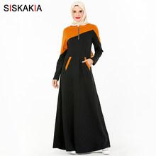 Siskakia SweatDress סתיו 2019 אופנה Hit צבע טלאים מזדמן כיס קדמי מקסי שמלות בתוספת גודל מתכת רוכסן עיצוב חדש(China)