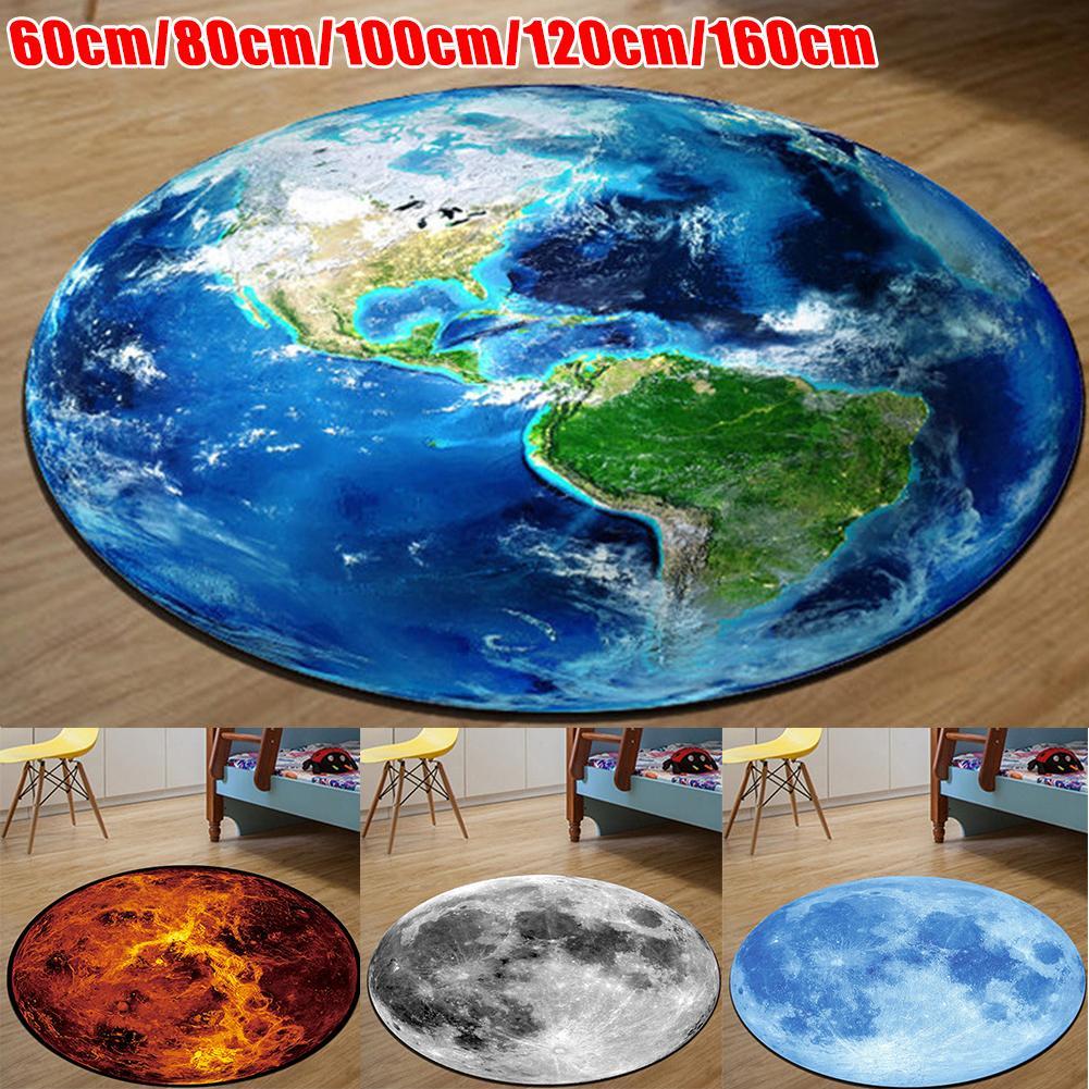 Creative 3D Carpet Chair Floor Earth Moon Round Rug Yoga Mat Room Mat Home Decor
