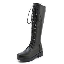 Gdgydh sonbahar dantel-up yüksek bacak Boot kadınlar siyah deri bayanlar uzun çizmeler 2020 yüksek moda tıknaz topuk ile fermuar artı boyutu 43(China)