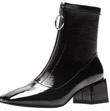 Kadın Hakiki Deri Çizmeler moda El Yapımı inek deri Retro kare kısa çizmeler Ön fermuar platformu Martin çizmeler(China)