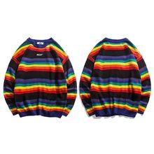 하라주쿠 레트로 레인보우 니트 스트라이프 스웨터 남성 힙합 풀오버 스웨터 streetwear 남성 패션 가을 2018 스웨터 코튼(China)