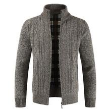 브랜드 높은 qality 두꺼운 스웨터 남자 슬림 맞는 카디 건 스웨터 코트 남성 니트 지퍼 가을 겨울 따뜻한 캐주얼 남성 스웨터 M-3XL(China)