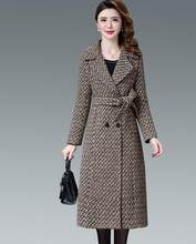 New Autumn Winter Houndstooth Women's woolen coat Large size 5XL Thicken long Womens coat fashion Double-breasted Cashmere coats(China)