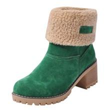 Sıcak yün Çizmeler kadın Kadın bileğe kadar bot Martin yüksek topuklu ayakkabı Kadın Moda Artı Boyutu(China)