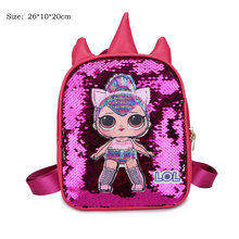 LOL Surprise Dolls mochila escolar mujer moda de dibujos animados mochila de viaje niñas con lentejuelas bolsas niños estudiante regalo 2S30(China)