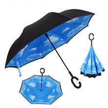 Перевернутый двухслойный зонтик от солнца Для женщин дождь зонт обратного сложения мужской guarda invertido paraguas Зонт с защитой от ветра(China)