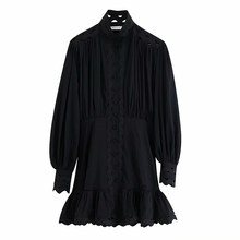 Mode évider noir blanc robe femmes lanterne à manches longues Streetwear Mini robes col montant solide fête Ropa Mujer S-L(China)