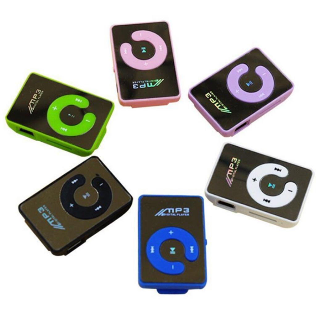 Fashion Mini mp3 Clip MP3 Player Support 8GB MicroSD TF CardSlick stylish design Sport Mirror Portable MP3 player Mini