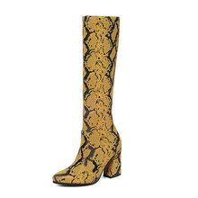 WETKISS Sexy Snake Skin Pu Laarzen Vrouwen Stretch Kleurrijke Boot Vrouwelijke Ronde Neus Knie Hoge Schoenen Dames Hoge Hakken Schoenen winter(China)