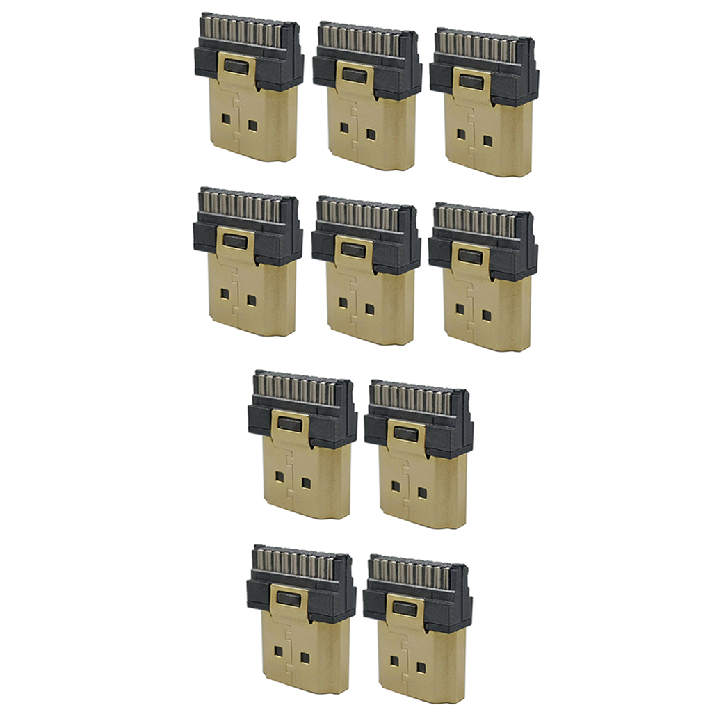 10 Pack HDMI Soldering Plug 19Pin Male Gold-Plating for Low Stereo Loss Repairing Part Termination Repair Replacement Kit