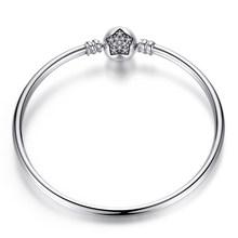 Pulseira 925 Sterling Silver Gelang Femme Salju Hati Biru Mata Femme Rantai Ular Gelang & Gelang Wanita Perhiasan(China)