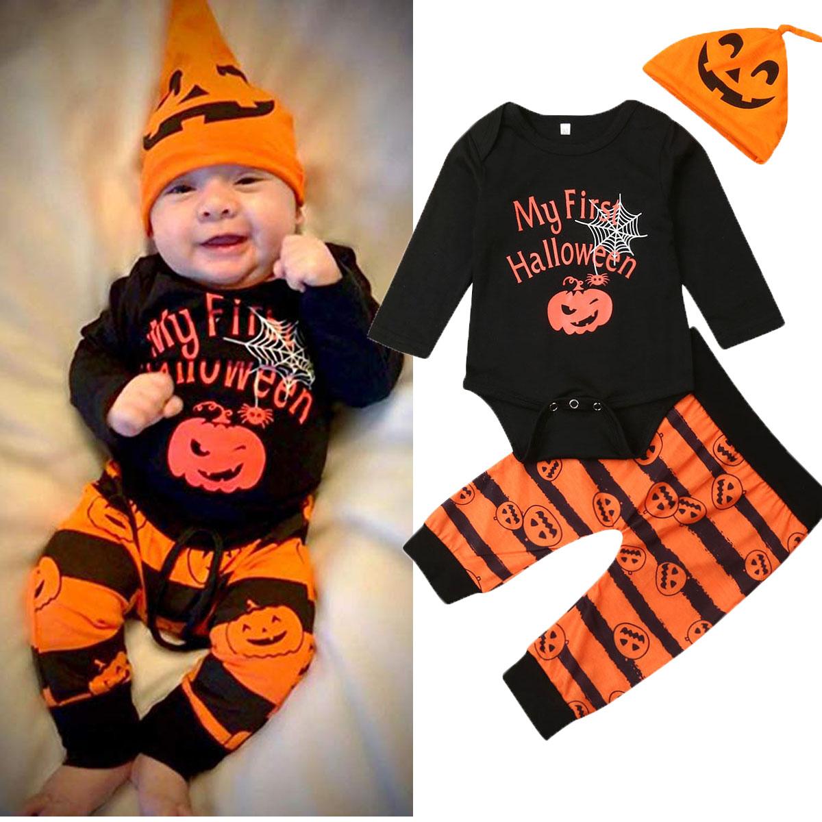 Newborn Baby Long Sleeve Pumpkin Romper Halloween Pants Hat Outfits Costume
