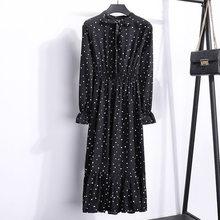 Корейское черное платье-рубашка, офисное платье в горошек, винтажные осенние платья, Женское зимнее платье, миди платье с цветочным рисунко...(China)