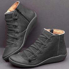 Frauen Winter Schnee Stiefel PU leder stiefeletten flache Schuhe frau Kurze Braune Stiefel Mit Pelz 2020 für frauen spitze up stiefel(China)