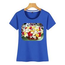חולצות T חולצה נשים סל של פרחים מיובשים קומיקס כתובות קצר נשי חולצת טי(China)