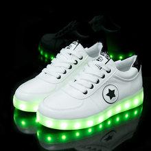 גודל 27-40 אופנה טובה ילדי LED זוהר זוהר סניקרס עם אור עד נעליים לילדים בני בנות סלי LED כפכפים 36(China)