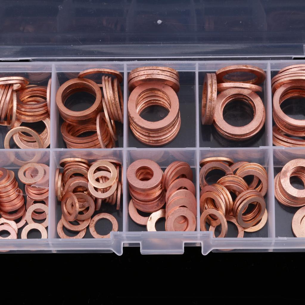 200pcs Diesel Injector Washer Gasket Assortment Installation Kit Set Box