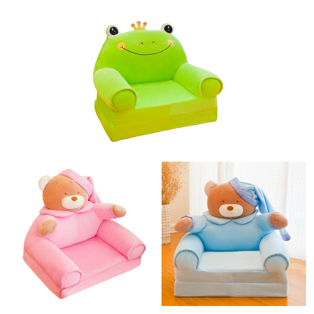 Adorable Kids Foldable Sofa Chair Cover Cartoon Animal Couch Seat Replacement Cover Soft and Comfortable