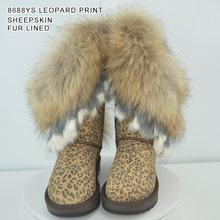 INOE mode vache daim cuir naturel fourrure de renard femmes bottes d'hiver de haute qualité bottes de neige liquidation vente grande remise sable couleur(China)