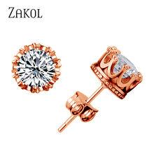 ZAKOL Rouns kolczyki sztyfty biżuteria Unisex Trendy kobiety/mężczyźni kolczyki kryształowe korona kolczyk Piercing prezenty hurtownie FSEP398(China)