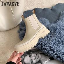 Siyah yeşil deri Chelsea yarım çizmeler kadın yuvarlak ayak kalın alt üzerinde kayma düz kış ayakkabı kadın Martin çizmeler botas mujer(China)