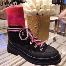 2020 sıcak varış kış çorap Martin çizmeler yün örme Patchwork deri motosiklet botları tasarım ayakkabı kadın platformu botları(China)