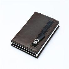 BISI GORO porte-carte de crédit 2020 nouvelle boîte en aluminium carte portefeuille RFID en cuir(China)