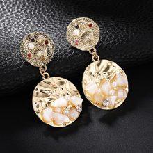 2019 New Natural Dangle Drop Earrings Resin Stone Vintage Hanging Earrings for Women Elegant Geometric Earrings Brincos Bijoux(China)