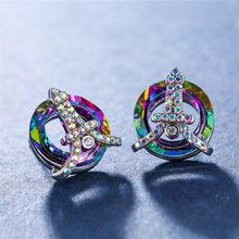Rongxing Lucu Aries Rainbow Zircon Stud Anting-Anting untuk Wanita 925 Perak Diisi Aneka Warna Kristal Geometris Anting-Anting Lucky Perhiasan(China)