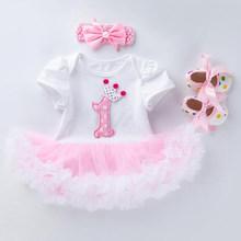 Летние Детские костюмы для девочек с короткими рукавами, одежда для первого дня рождения, кружевное платье-пачка милый комбинезон с объемны...(China)