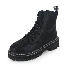 Winter frauen pumpt kleid Martin stiefel Plattform Mode Strass lace up Runde Toe mid heels schnee botas frauen schuhe mujer x963(China)