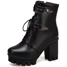 Bonjomarisa Mới Lớn Size 34-43 Bò Buộc Dây Boot Nữ Đế Mắt Cá Chân Giày Nữ Mùa Đông 2020 Cao Cấp gót Giày Người Phụ Nữ(China)