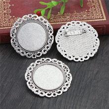 Neue Mode 5 stücke 25mm Innere Größe Antike Silber Bronze Farben Brosche Barock Stil Cabochon Basis Einstellung(China)