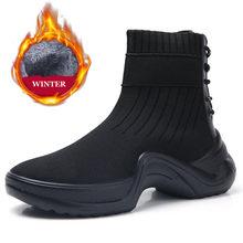 PINSEN 2019 Herbst Winter Frauen Stiefel Bequem Mode Knöchel Schnee Stiefel Frauen Winter Warm Halten Lace-up Damen Socke stiefel(China)