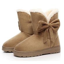 Bogen Winter Schnee Stiefeletten Frauen Warme Pelz Stiefel Plüsch Schuhe Für Frauen Schwarz Booties Schmetterling Botas Mujer Invierno Weiblichen(China)