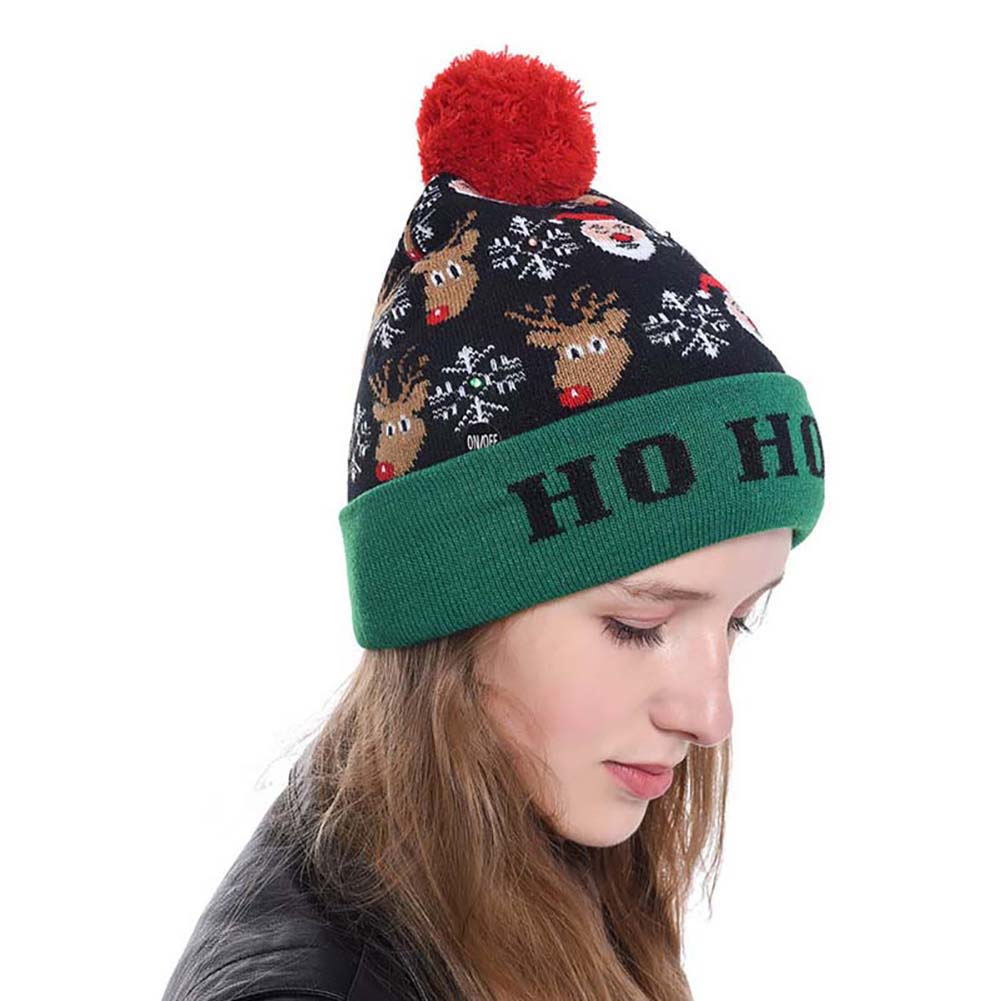 Unisex Beanie Knitted Cap Winter Warmer Kint Hat Christmas Xmas LED Lights Up