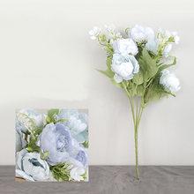 7 رؤساء الفاوانيا الزهور الاصطناعية زهرة الحرير لوازم ديكورات زفاف للمنزل وهمية الزهور الخريف زينة فو الزهور(China)