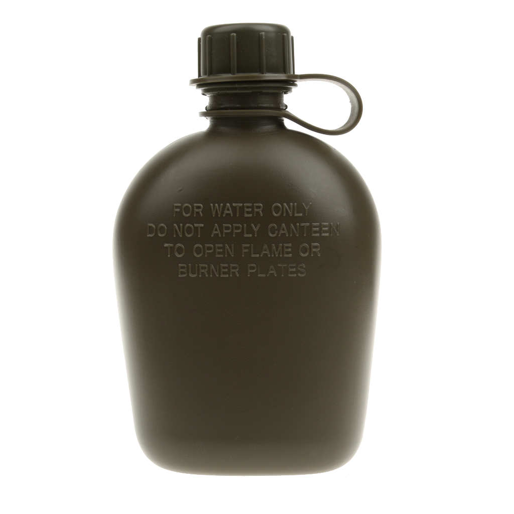 3 piece Army Military Camping Sport Water Bottle Canteen with Cup, Cover 34o