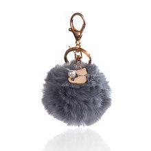 1 pc bonito rosa gato fofo pele pompom bolas chaveiros moda feminina jóias do carro bolsa pingente de pele falsa chaveiro presentes(China)