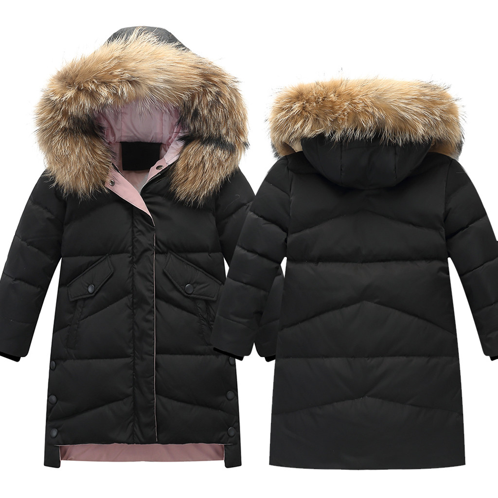 Boy Hooded Winter Parka Mid Long Duck Down Puffer Padded Jacket with Fur Trim