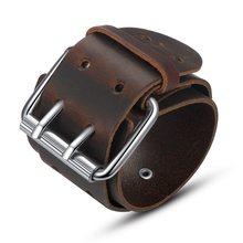 BAMOER moda podwójny pas skórzany nadgarstek przyjaźń duża szeroka bransoletka dla mężczyzn klamra Vintage biżuteria punkowa PI0268(China)