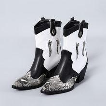 WETKISS Snake Skin Pu Westerse Laarzen Vrouwen Cowboy Enkellaars Vrouwelijke Hoge Hakken Schoenen Dames Wees Teen Schoenen Vrouwen Winter GROTE 45(China)