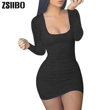 ZSIIBO נשים מקרית קיץ סתיו ארוך שרוול שרוולים מיני סקסי Bodycon טנק מועדון שמלת נמוך צוואר זרוק חינם(China)