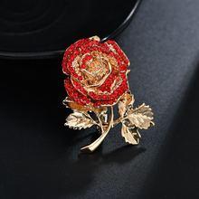 Terreau Kathy 2019 Baru 3D Mawar Merah Pin Rhinestone Bunga Bros Wanita Pakaian Aksesoris Lucu Wanita Pernikahan Bunga Bros(China)