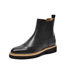 BeauToday Chelsea çizmeler kadın dana derisi hakiki deri yuvarlak ayak elastik bant bayanlar ayak bileği Brogues botları el yapımı 03439(China)