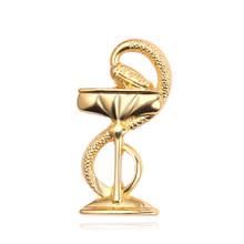 Di modo Ciotola di Igea di Spille Distintivo Oro Argento Oro Rosa Gioielli Spilla Infermiera Medico Medical Symbol Spille Accessori del Regalo Delle Donne(China)