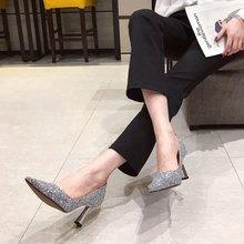 SUOJIALUN النساء مضخات مثير عالية رقيقة كعب أشار تو أحذية الضحلة موضة بلينغ أحذية نسائية مكتب سيدة مضخات فستان أحذية(China)