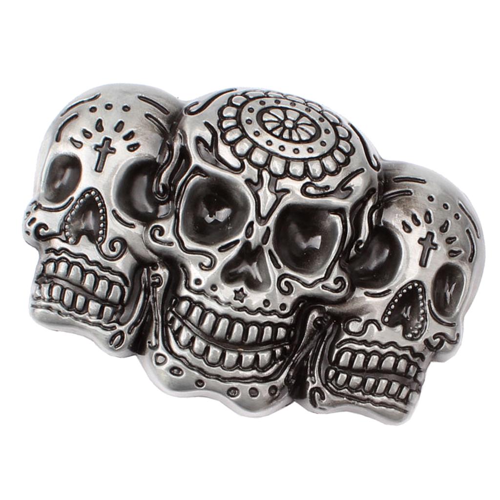 Men Punk Skull Belt Buckle Antique Silver 3D Skull Head Gothic Motorcycle Biker